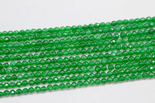green agate 3mm faceted ball strands