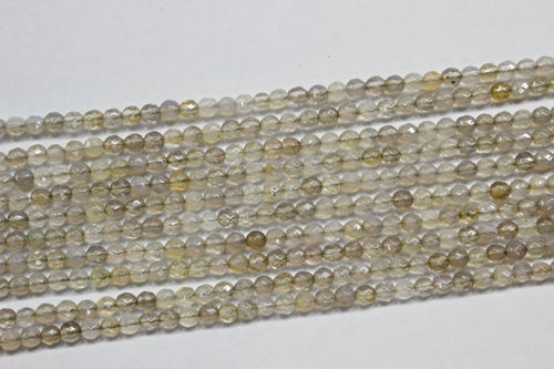 gray agate 3mm faceted ball strands