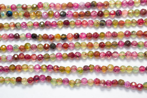 multicolored agate 4mm faceted ball strands
