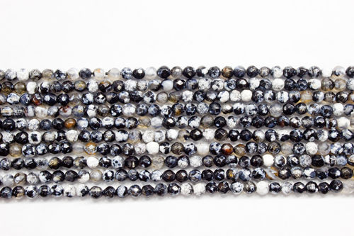 black listed agate 3mm faceted ball strands