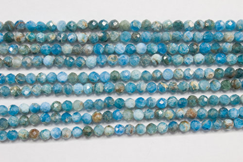 clear apatite 3mm faceted ball strands