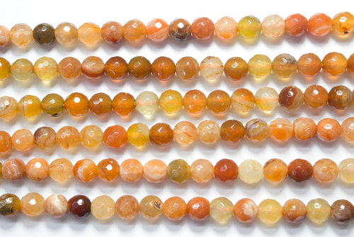bicolor carnelian 6mm faceted ball strands