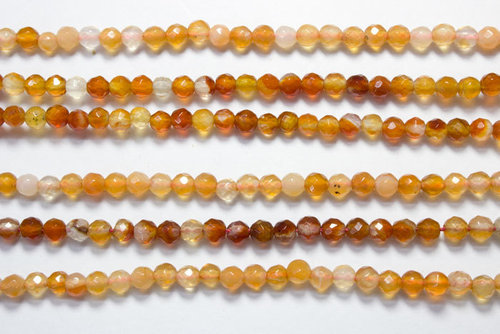 bicolor carnelian 4mm faceted ball strands