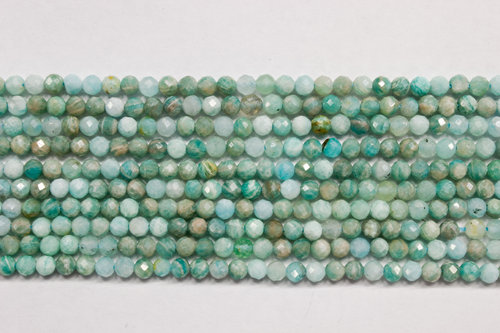 amazonite 3mm faceted ball strands