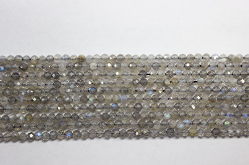labradorite 2mm faceted ball strands