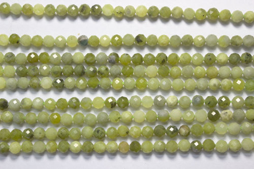 green jade 4mm faceted ball strands
