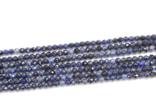 Dumortierite 3mm faceted ball strands