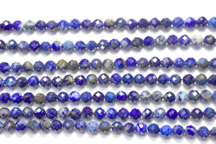 lapis lazuli 5mm faceted ball strands