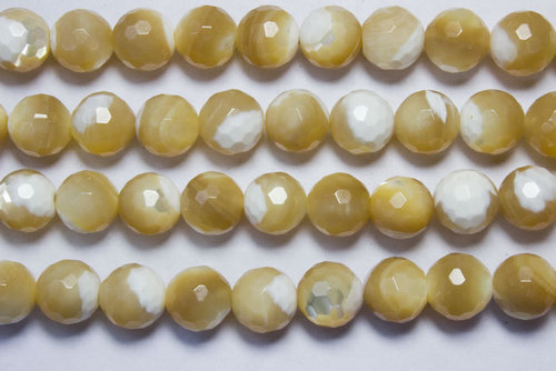 nacre brown 8mm faceted ball beads strands