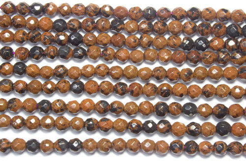 mahogany obsidian 4mm faceted ball strands
