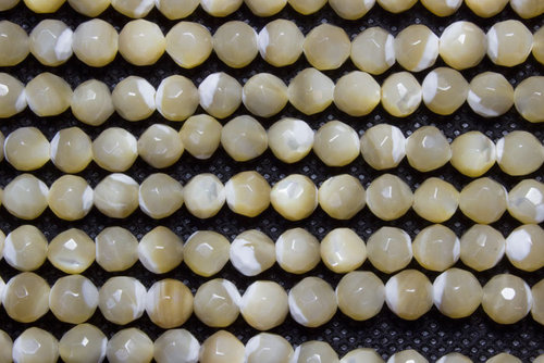 nacre brown 6mm faceted ball strands