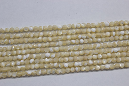 nacre brown 3mm faceted ball strands