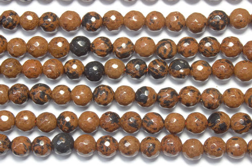 mahogany obsidian 6mm faceted ball strands