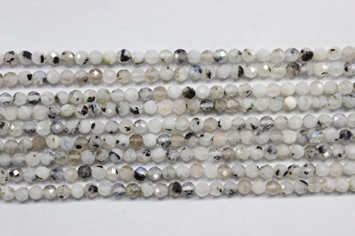 light moon stone 3mm faceted ball strands