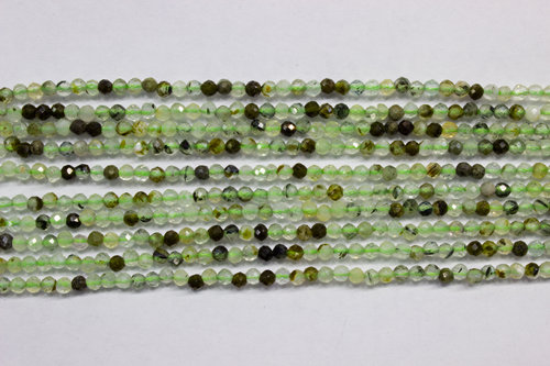 prehnite 2mm faceted ball strands