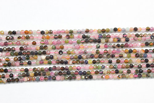 multicolor tourmaline 2mm faceted ball strands