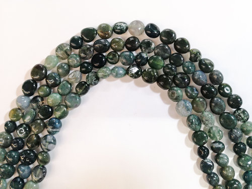moss agate 8x10mm tumbled strands