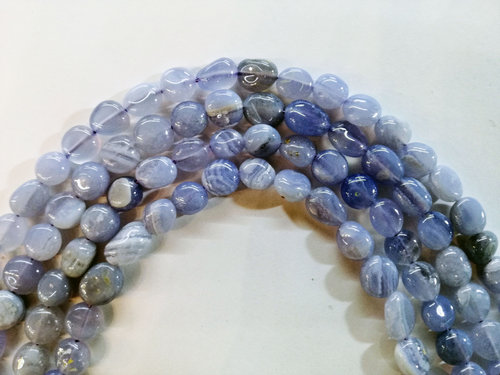 chalcedony 8x10mm tumbled strands