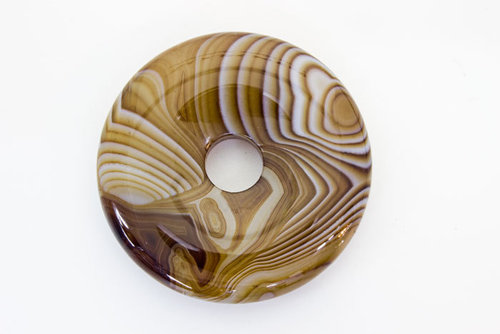Donut Black Listed Agate 40mm