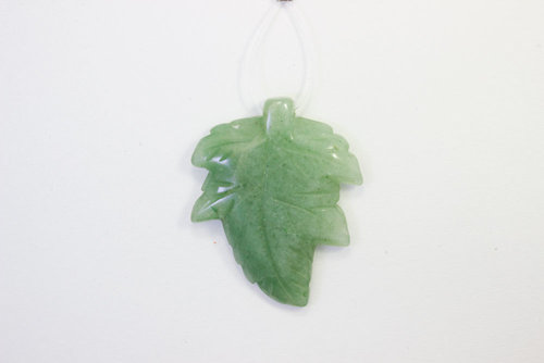 Green Aventurine pendant leaf 30x40mm