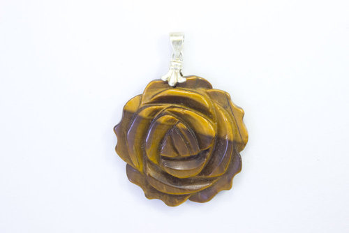 Tiger'S Eye flower pendant hole 28mm
