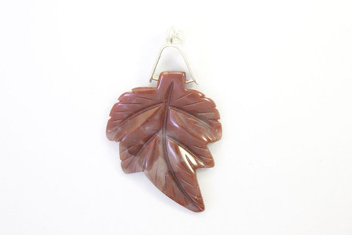 Indian Agate pendant leaf 30x40mm