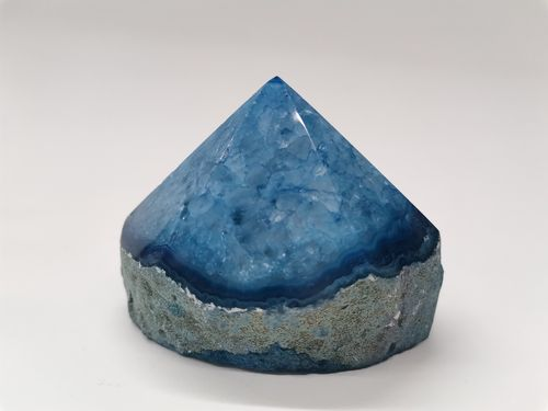 Polished mineral tip blue listed agate