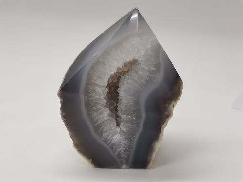 Polished mineral tip white agate