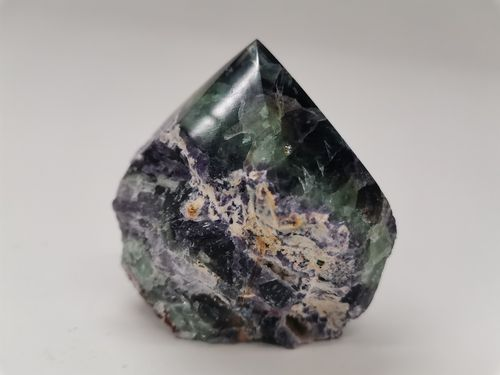 Polished mineral tip fluorite multicolor