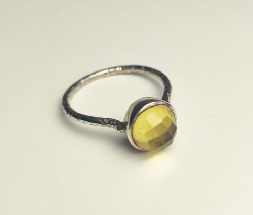 Silver Ring 925 Stoned Ball citrine