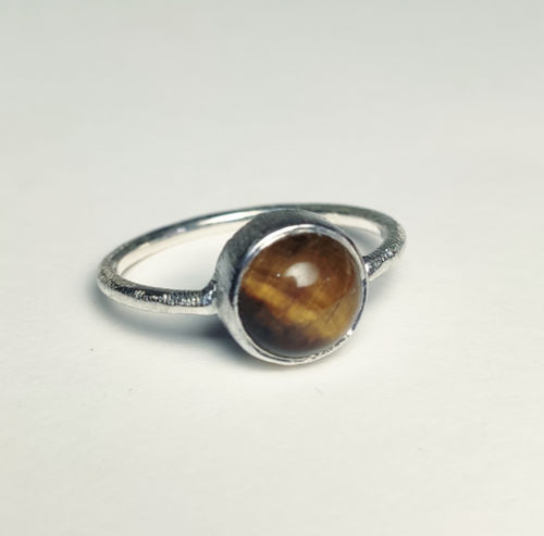 Silver Ring 925 Cabochon 8mm tiger's eye