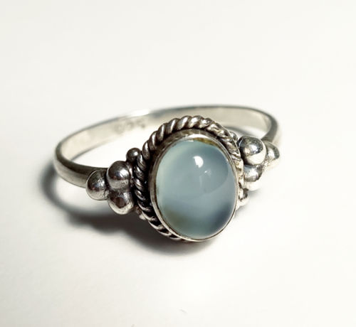 Silver Ring 925 3 balls chalcedony
